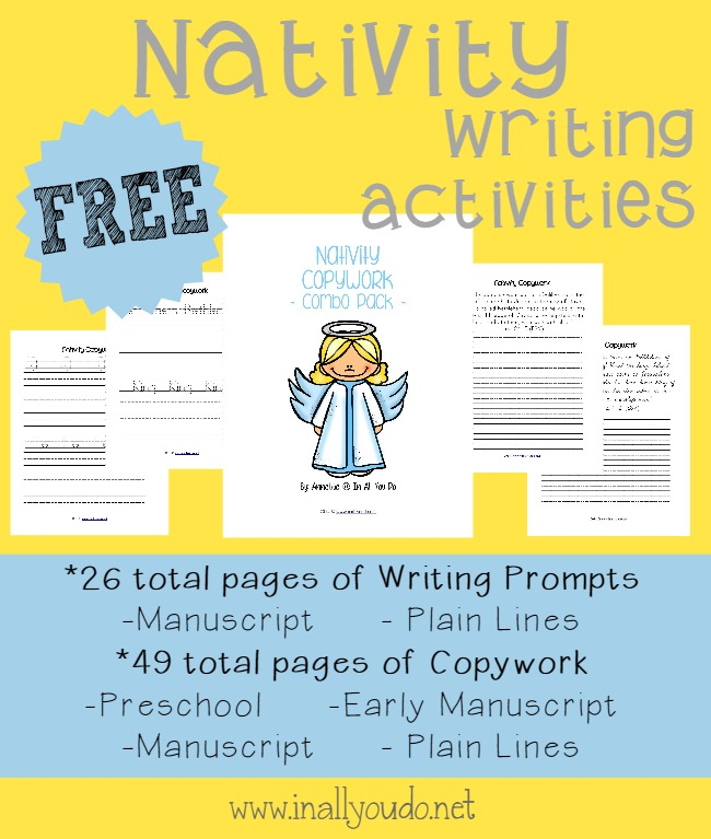 Teach your kids the importance of Christ this Christmas Season with these Nativity themed Writing Activities. These fun Writing Activities include 75 pages of Writing Prompts, Draw & Write Prompts & Copywork for PreK-5. :: www.inallyoudo.net