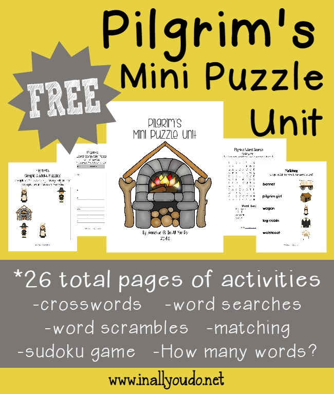 26 total pages of activities including Crosswords, Word Searches, Sudoku, Matching Game and MORE!!!