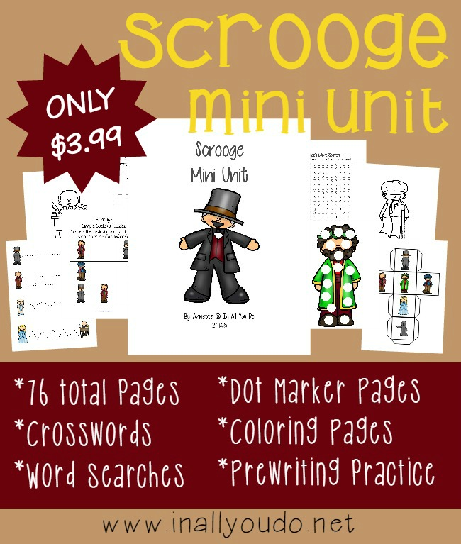 "If you love ""A Christmas Carol"" by Charles Dickens, you'll love this NEW Unit from In All You Do!! Activities for Tots to 5th grade!! :: www.inallyoudo.net"