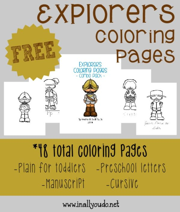 Grab these {free} Explorers Coloring Pages to use alongside a mini unit or just as fun while learning some History!! :: www.inallyoudo.net