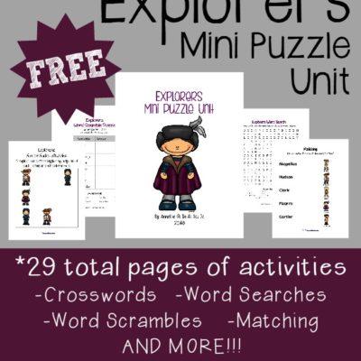 Explorers Mini Puzzle Unit {free printable}