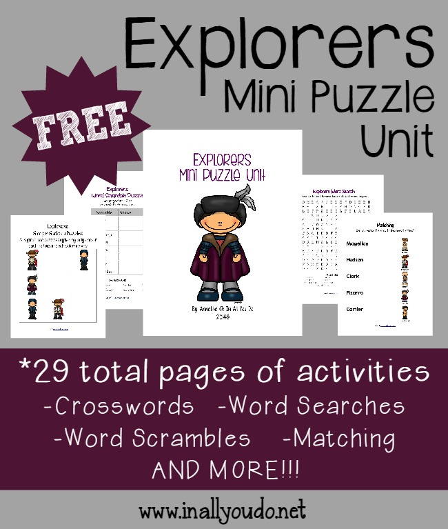Kids will enjoy this fun, mini puzzle unit about different Explorers. Includes 29 pages of activities and puzzles for PreK to 5th grade. :: www.inallyoudo.net