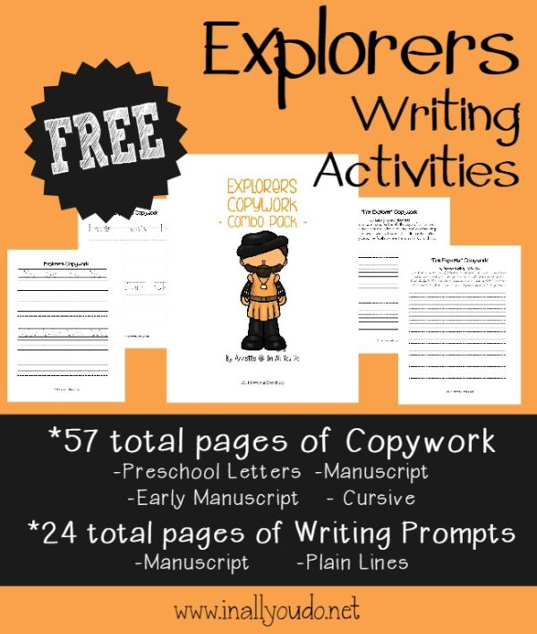 Your kids will have fun learning and writing about explorers with these 81 total pages of Writing Activities!! Download them FREE on the site. :: www.inallyoudo.netYour kids will have fun learning and writing about explorers with these 81 total pages of Writing Activities!! Download them FREE on the site. :: www.inallyoudo.net