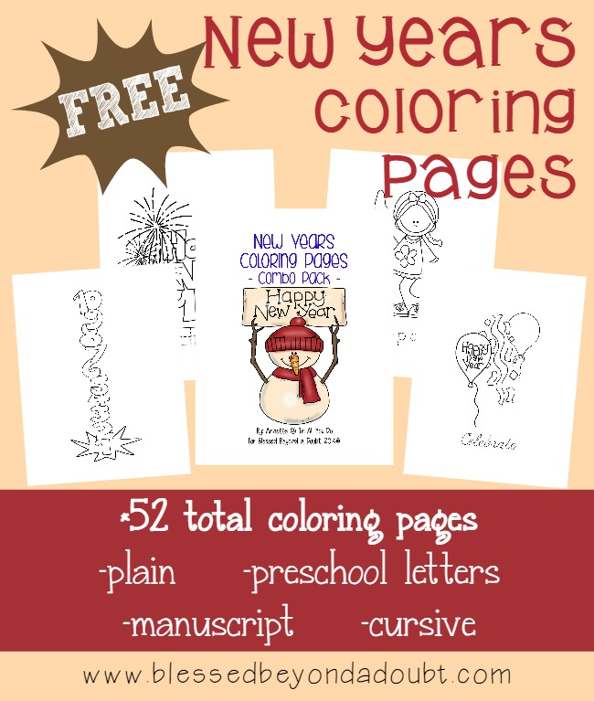 Who says you can't have fun AND learn a little on New Years Eve? Grab these 52 FUN Coloring Pages for Toddlers - 5th grade or anyone who loves to color!! :: www.inallyoudo.net