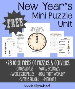 Complete your New Year's unit with this Mini Puzzle Unit. Includes 28 pages of puzzles & activities for PreK to 5th grade!! :: www.inallyoudo.net