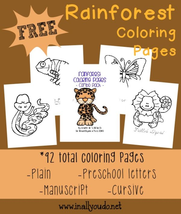 Do you know the animals that live in the rainforest? Here are some fun Rainforest Coloring Pages {92 total}. FREEBIE :: www.inallyoudo.net