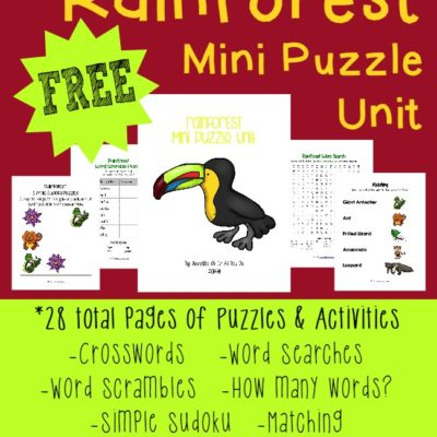 FREE Rainforest Mini Puzzle Unit