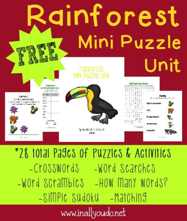 Concluding our Rainforest Unit with these fun Puzzles and Activities!!! {28 total pages} :: www.inallyoudo.net