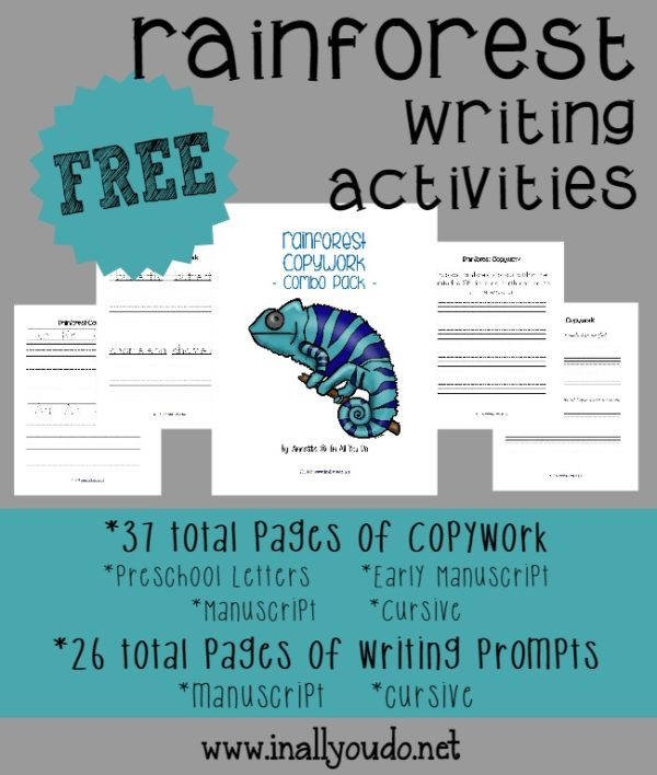 If you're learning about the Rainforest this year, hop over and grab these 63 pages of FREE Writing Activities!!! :: www.inallyoudo.net