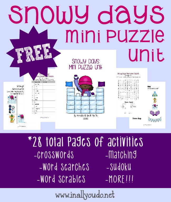 Snowy Days are here!! Fill those long, cold, wintry days with these {free} fun puzzles & activities!! www.inallyoudo.net