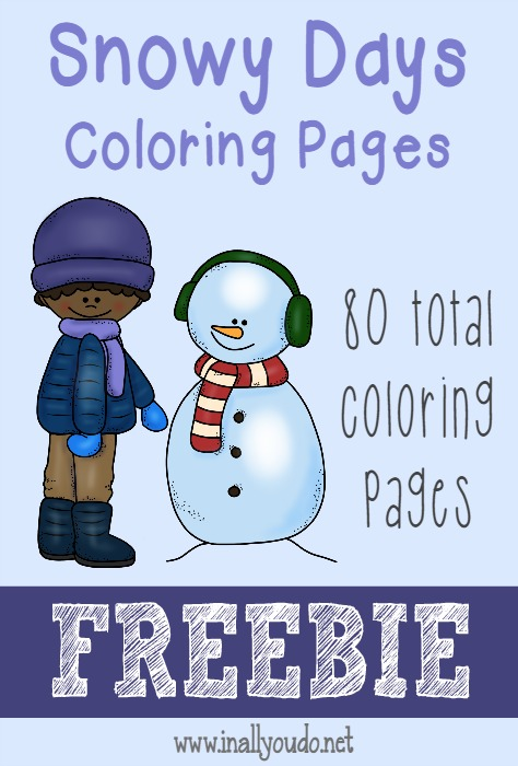 Snowy days are coming!! Grab these adorable Coloring Pages to keep your kids busy on those super cold days this winter!! 80 {free} pages ~ In All You Do