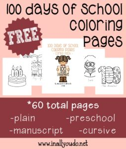 Do you celebrate the 100th day of school? Here are some fun coloring pages you can use with your kiddos during your celebration or use them as decorations! :: www.inallyoudo.net