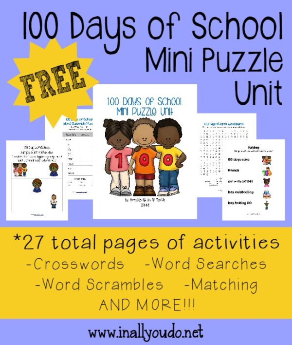 Complete your 100 Days of School learning with this fun and FREE Mini Puzzle Unit!! Includes 27 total pages of puzzles and activities for PreK to 5th grade!! :: www.inallyoudo.net