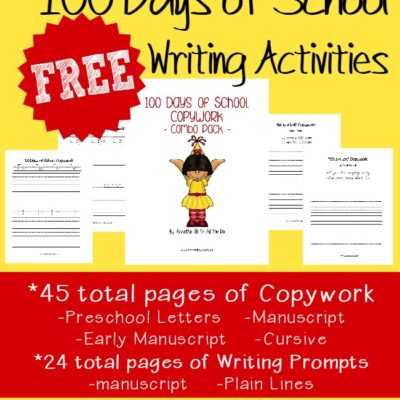 {FREE} 100 Days of School Writing Activities