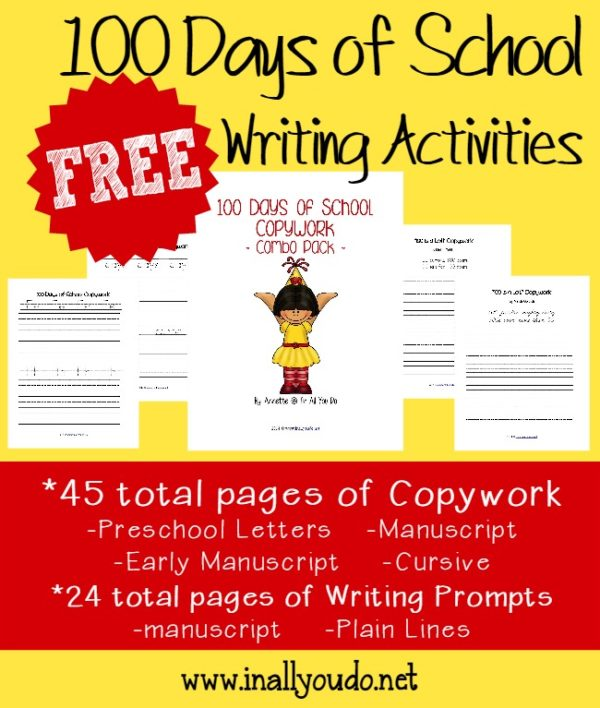 Kids just love any reason to celebrate! Make the 100th Day of School even more fun with these Writing Activities!! {69 total pages} :: www.inallyoudo.net