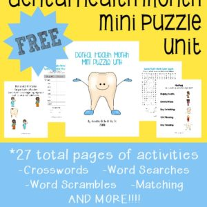 February is Children's Dental Health Month!! Grab these {free} Puzzles and Activities to help kids learn the importance of keeping their teeth healthy!! :: www.inallyoudonet