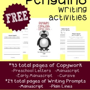 Get your kids excited with these fun Penguin writing activities!! 67 total pages of Copywork, Writing Prompts & Draw-then-Write activities. :: www.inallyoudo.net