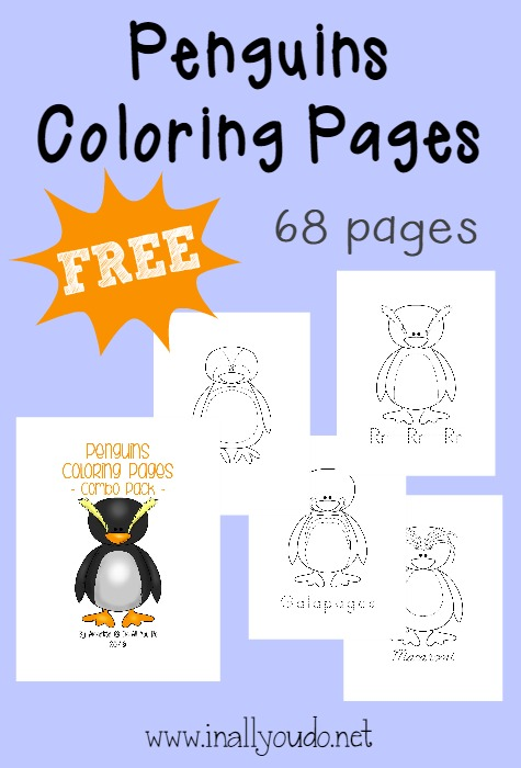 Penguins are one of my favorite animals!! Kids can color a variety of different penguins in this FREE 68 page packet!! :: www.inallyoudo.net