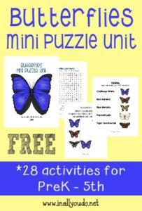 Butterflies are beautiful and fascinating creatures. Use this fun Butterfly Mini Puzzle unit to learn more about them! {28 total pages} :: www.inallyoudo.net