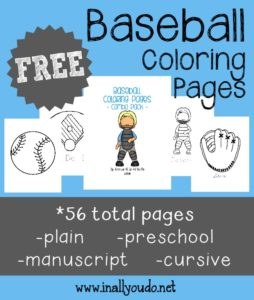 If your kids enjoy sports, they will love these fun Baseball Coloring Pages!! 56 total pages :: www.inallyoudo.net