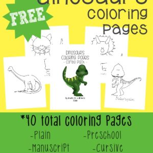 DINOSAURS!!! Kids love Dinosaurs and they will enjoy these fun Dinosaur coloring pages!! {40 total pages} :: www.inallyoudo.net