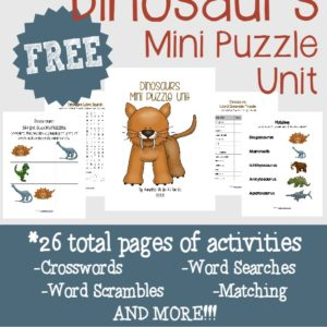 Combine their love of dinosaurs with these fun and FREE Dinosaurs Mini Puzzle Unit!! Includes 26 pages of activities!! :: www.inallyoudo.net
