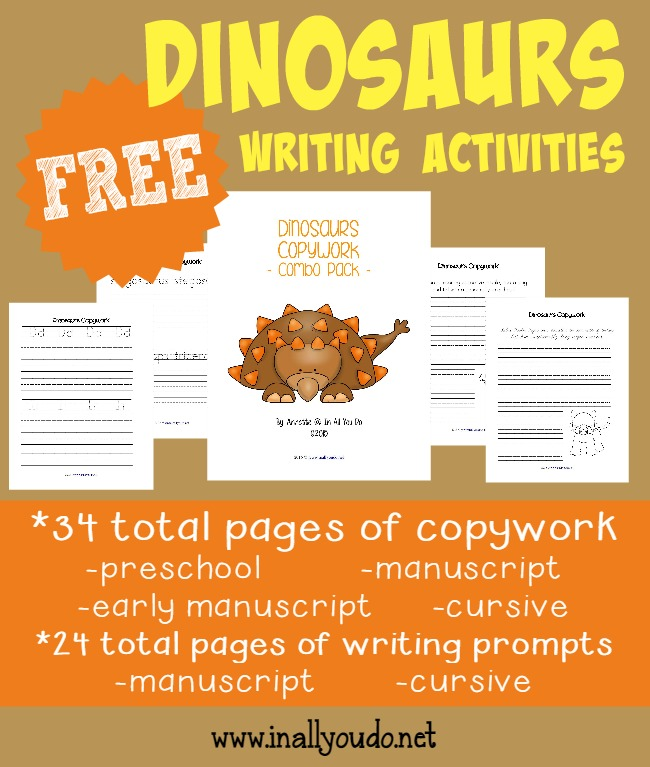 Kids will have fun using their creative juices with these Dinosaur Writing Activities. Includes copywork, writing prompts & Draw-then-Write prompts. {78 total pages} :: www.inallyoudo.net