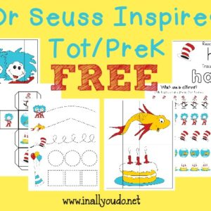 Little ones will LOVE learning with this fun Dr. Seuss inspired Tot/PreK Pack. Includes 30 pages of puzzles, prewriting, tracing & MORE!! :: www.inallyoudo.net