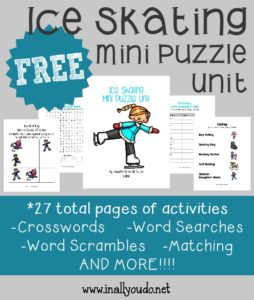 Kids will have fun learning all about ice and figure skating with these fun puzzle and activity pages!! Includes puzzles and activities for PreK to 5th grade!! :: www.inallyoudo.net