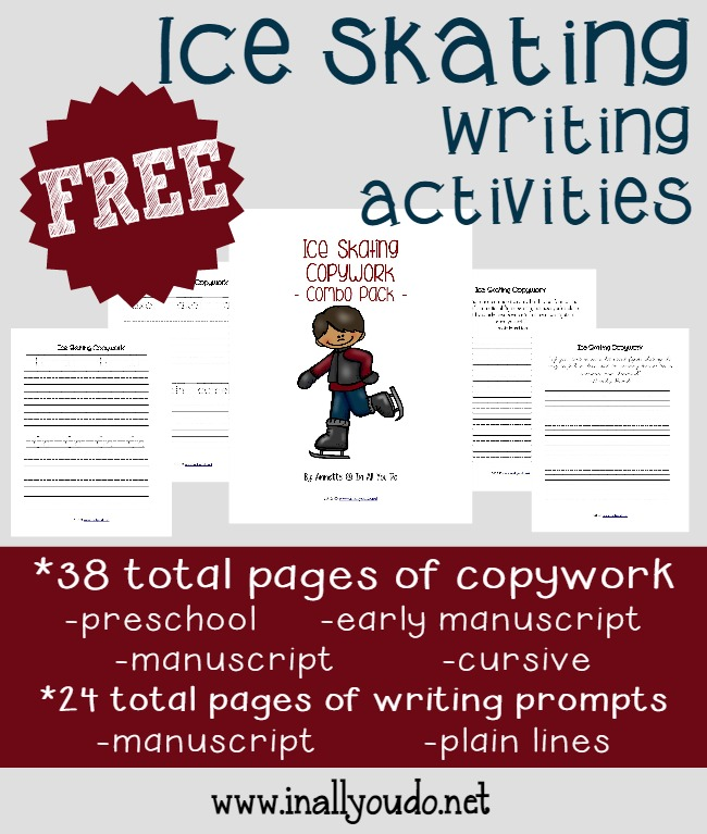 Winter is a great time for ice skating! Grab these 62 fun and educational Writing Activities FREE!! :: www.inallyoudo.net