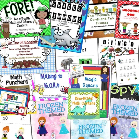 MASSIVE Math-themed freebie pack!! 18 different packs including Frozen, Minecraft, Dinosaur themes and MORE!! :: www.inallyoudo.net