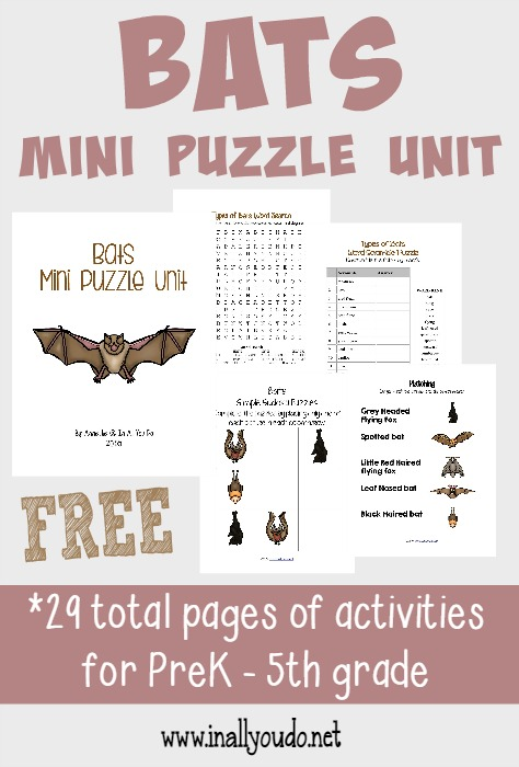 Grab this fun Bats Puzzle Unit to learn more about these fascinating creatures!! Includes Crosswords, Word Searches, Matching & MORE {PreK-5th}!! :: www.inallyoudo.net