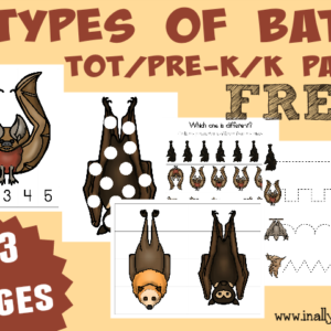 Don't miss this FREE Types of Bats Tot/PreK/K Pack!! Includes 33 pages of puzzles, prewriting, dot marker pages and MORE!! :: www.inallyoudo.net