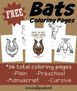 Studying Bats this year? Grab these fun and FREE Bats Coloring Pages to help kids identify some bats!! :: www.inallyoudo.net