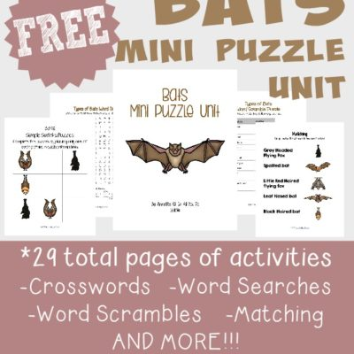 {free} Bats Puzzle Unit ~ 29 activity pages