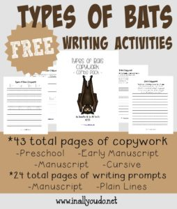 Kids will enjoy using their creative juices with these fun and FREE Bats Writing Activities! Includes 67 total pages of writing prompts & copywork for PreK-5th!! :: www.inallyoudo.net
