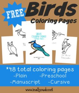 Spring will be here soon and that means birds will be returning and making their nests. Kids will enjoy these fun Birds Coloring Pages as they learn more about birds. :: www.inallyoudo.net
