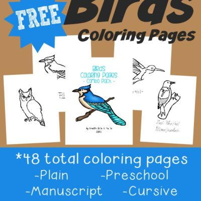 Types of Birds Coloring Pages & Emergent Readers