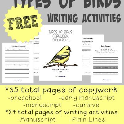 Birds Writing Activities ~ 59 total pages