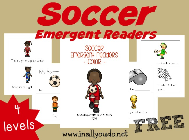 Soccer season is fast approaching!! Have fun with these SUPER CUTE Soccer Emergent Readers!! {4 levels} :: www.inallyoudo.net
