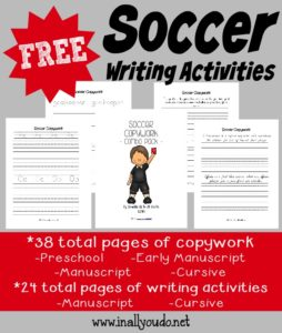 Don't miss these fun and FREE Soccer Writing Activitiy printables!! Includes Copywork (PreK-5th) , Writing Prompts & Draw-then-Write Prompts :: www.inallyoudo.net