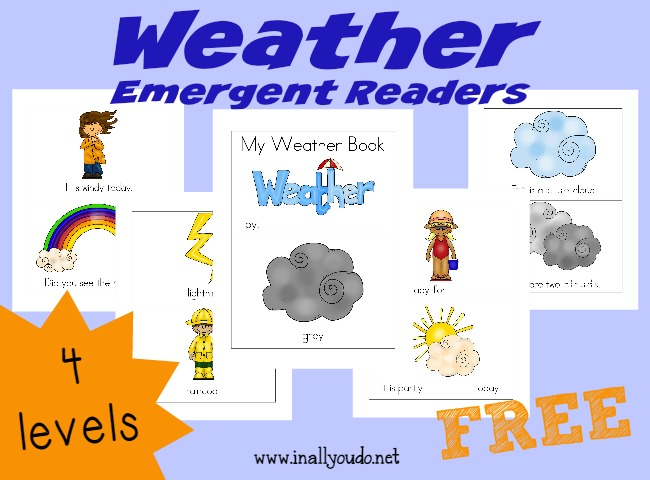 These Weather themed Emergent Readers are perfect for those just learning to read!! And just in time for the change of seasons too!! {4 levels} :: www.inallyoudo.net