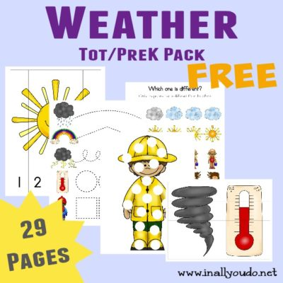 Do your kids love to watch the weather? This Weather Tot & PreK/K Pack is perfect for those young learners!! {29 pages} :: www.inallyoudo.net