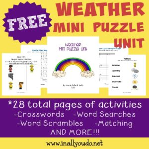 These fun Weather themed puzzles are perfect for kids just learning about the weather!! {28 total pages} :: www.inallyoudo.net