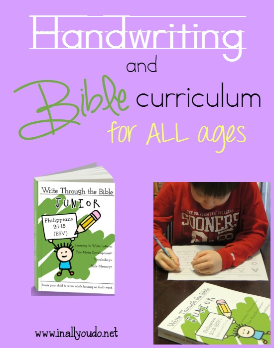 Write through the Bible Jr. is the perfect combination of Handwriting & Bible to teach letters, sound recognition and handwriting while learning the Bible for the little ones in your family. :: www.inallyoudo.net