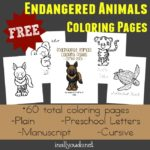 {free} Endangered Animals Coloring Pages & Emergent Readers