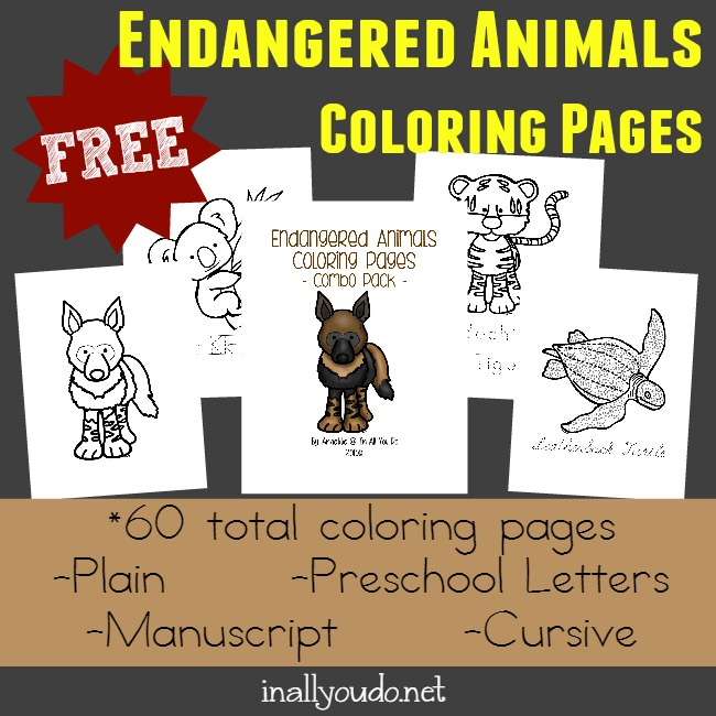 Free Endangered Animals Coloring Pages Emergent Readers In All