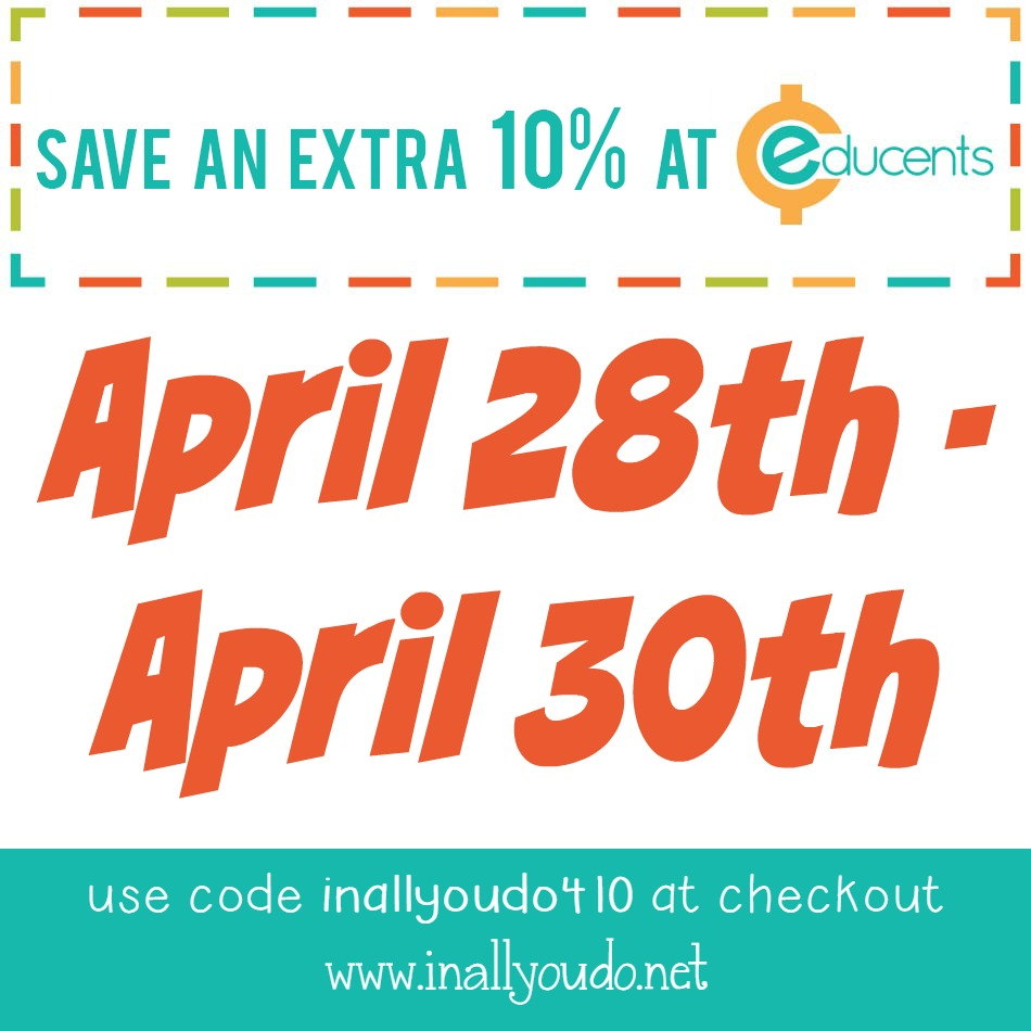 Now through April 30th, you can use this special code to get an additional 10% OFF the already low prices at Educents!! :: www.inallyoudo.net