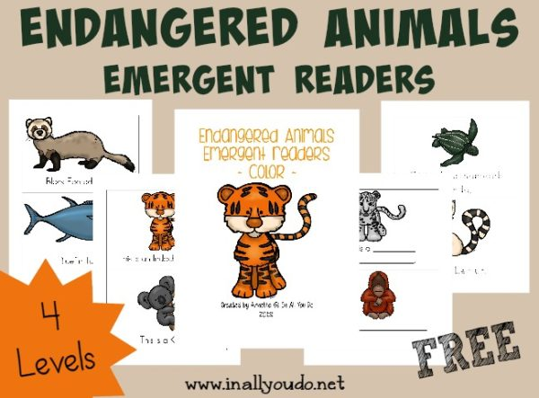 Kids will enjoy learning about some of the Endangered Animals with these SUPER CUTE Emergent Readers, available in 4 levels!!! :: www.inallyoudo.net