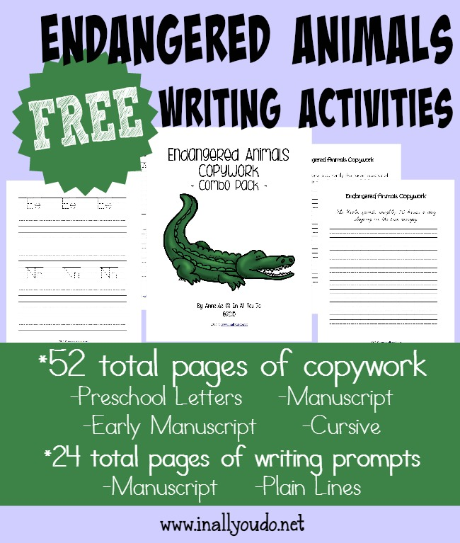 These fun and FREE Endangered Animals writing activities are perfect for learning about these animals while using their creative juices. {76 total pages} :: www.inallyoudo.net